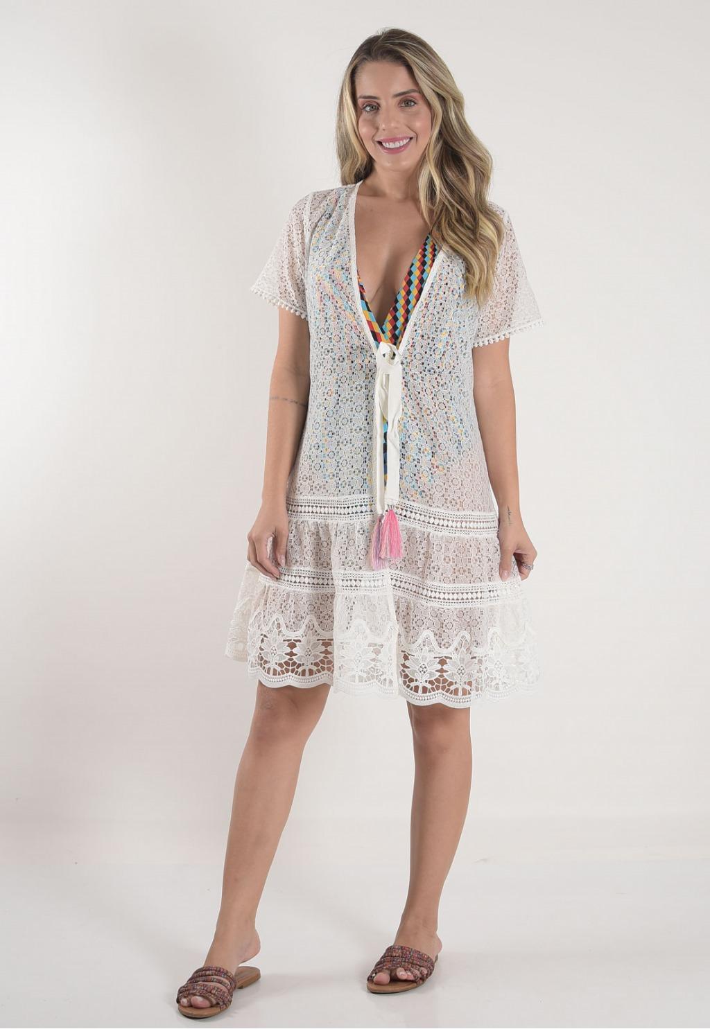 Vestido Mamorena saída rendada curta