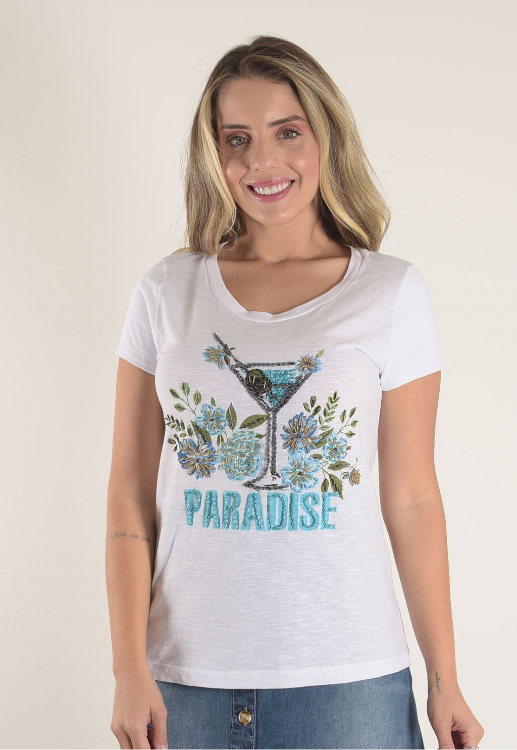 Blusa Mamorena t-shirt com bordado paradise