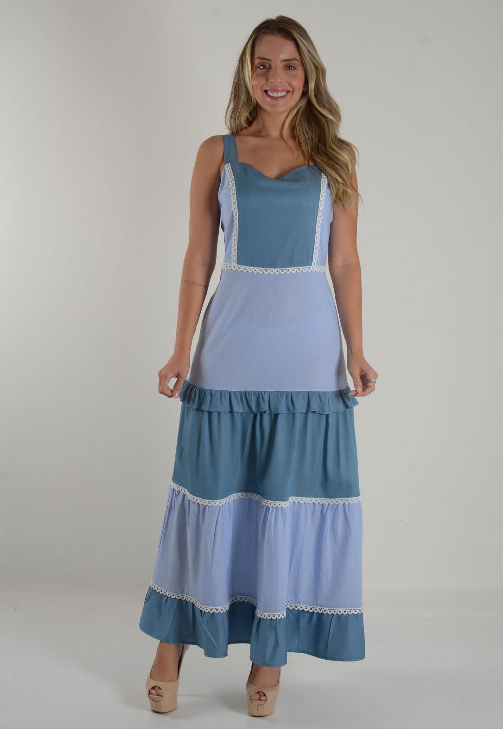 Vestido Mamorena longuete chambrey com recortes listrados