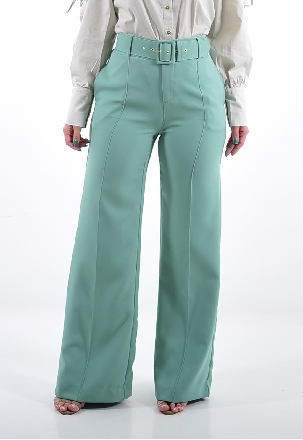 Calça Mamorena pantalona com cinto encapado