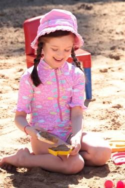 Maiô Infantil Peixe Rosa UV SUN COVER