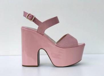 Sandália Plataforma Candy- Nude/ Rosê